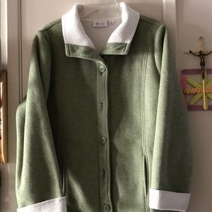 Fleece Button Front Jacket with Sherpa Lining